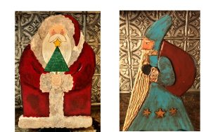 Rustic Santa Wood Painting